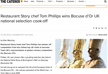 Restaurant Story chef Tom Phillips wins Bocuse d'Or UK national selection cook-off