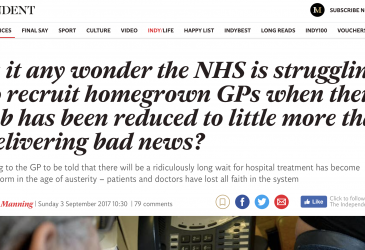 Is it any wonder the NHS is struggling to recruit homegrown GPs when their job has been reduced to little more than delivering bad news?